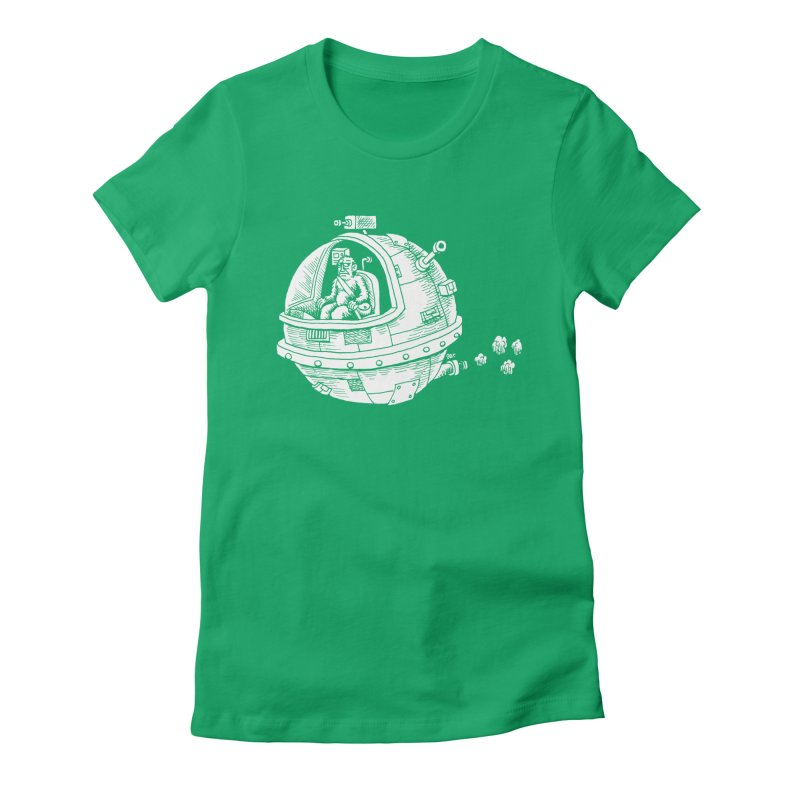 Spacefaring Yeti is in Space Women's Fitted T-Shirt by Anthony Woodward's Artist Shop