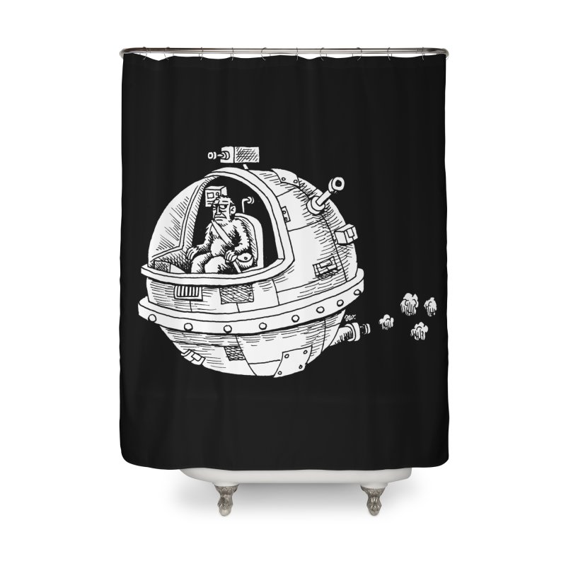 Spacefaring Yeti is in Space Home Shower Curtain by Anthony Woodward's Artist Shop