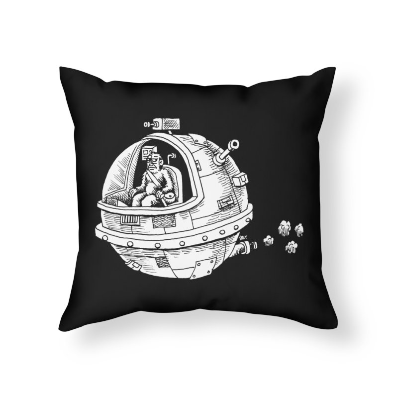 Spacefaring Yeti is in Space Home Throw Pillow by Anthony Woodward's Artist Shop