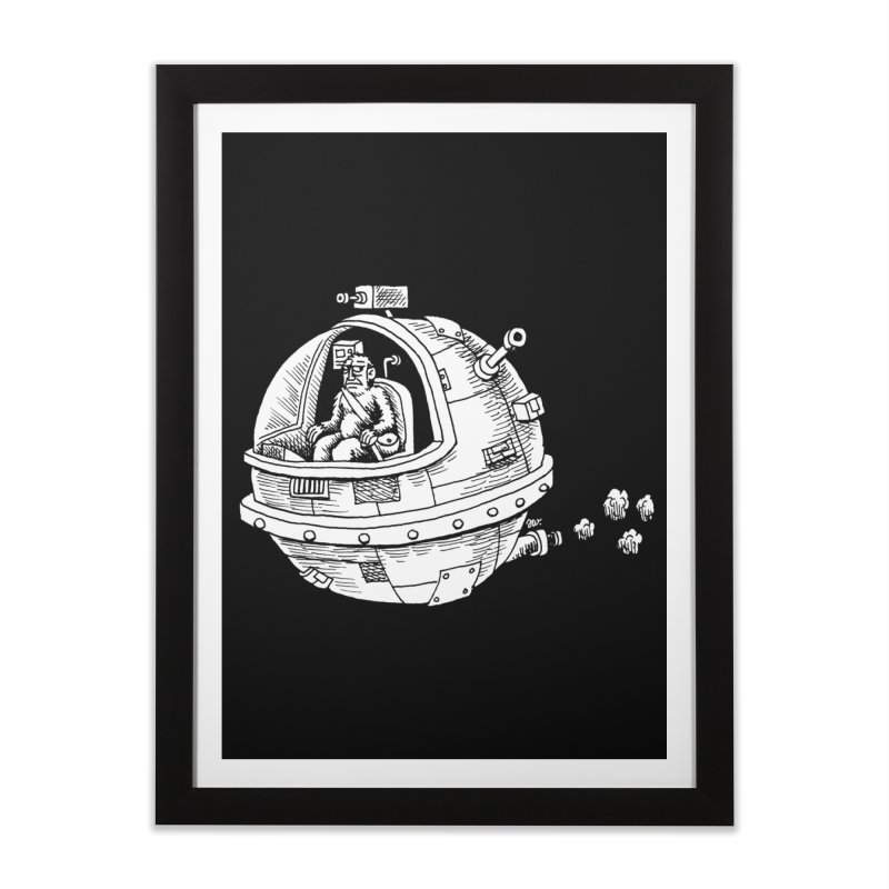 Spacefaring Yeti is in Space Home Framed Fine Art Print by Anthony Woodward's Artist Shop