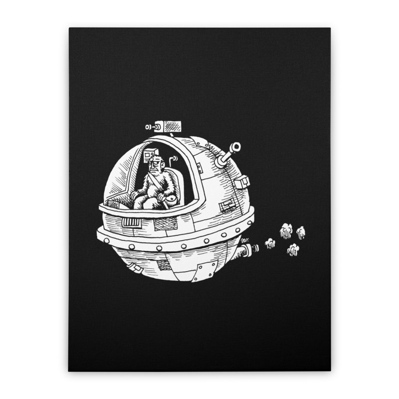 Spacefaring Yeti is in Space Home Stretched Canvas by Anthony Woodward's Artist Shop