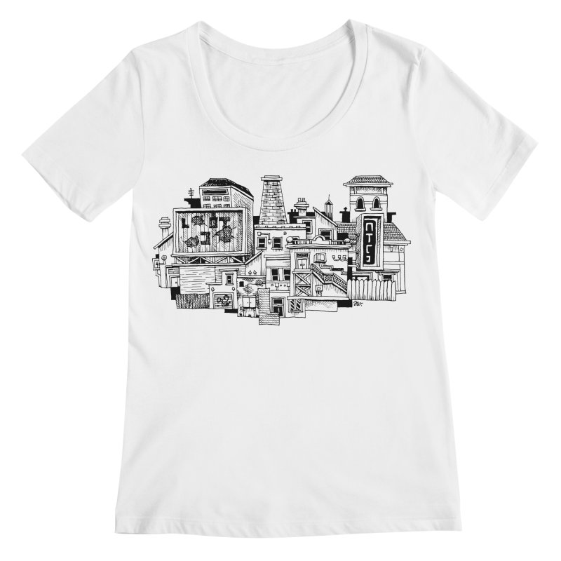 New Town Women's Scoopneck by Anthony Woodward's Artist Shop