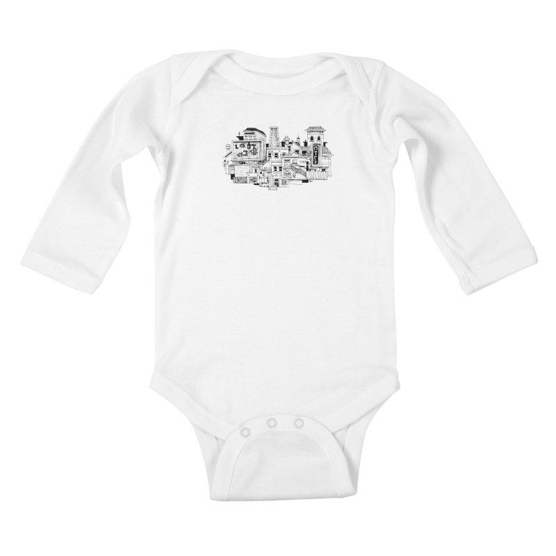 New Town Kids Baby Longsleeve Bodysuit by Anthony Woodward's Artist Shop