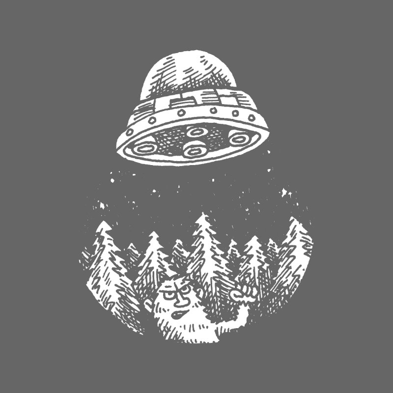 UFO buzzes Yeti in the forest by Anthony Woodward's Artist Shop