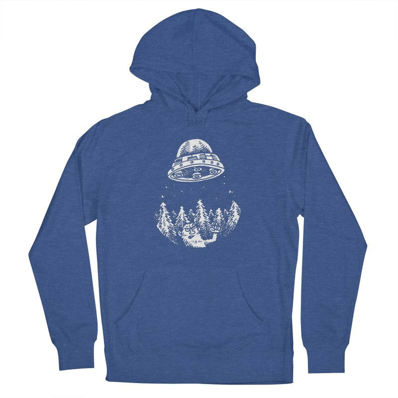 UFO buzzes Yeti in the forest Men's Pullover Hoody by Anthony Woodward's Artist Shop