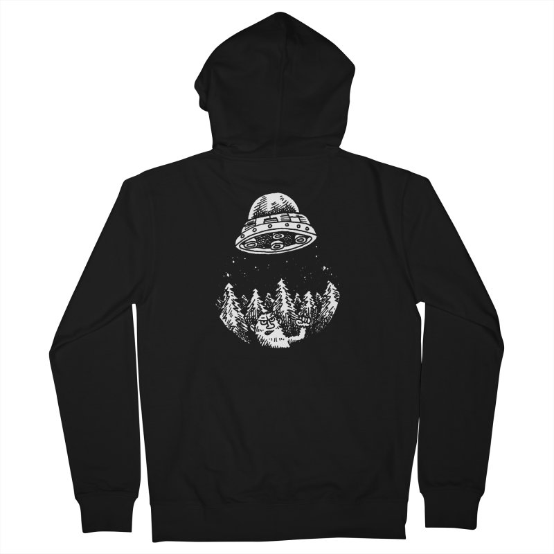 UFO buzzes Yeti in the forest Women's Zip-Up Hoody by Anthony Woodward's Artist Shop