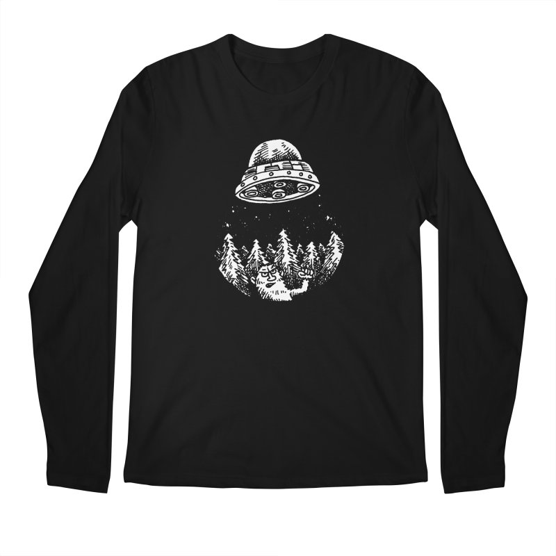 UFO buzzes Yeti in the forest Men's Longsleeve T-Shirt by Anthony Woodward's Artist Shop