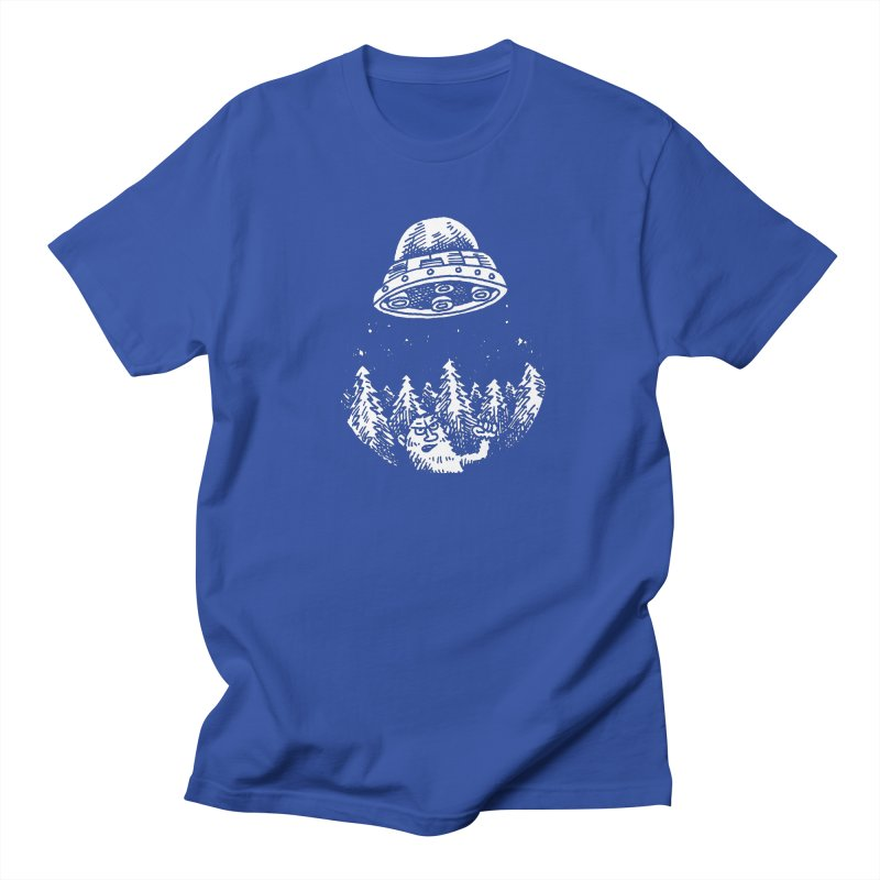 UFO buzzes Yeti in the forest Men's T-Shirt by Anthony Woodward's Artist Shop