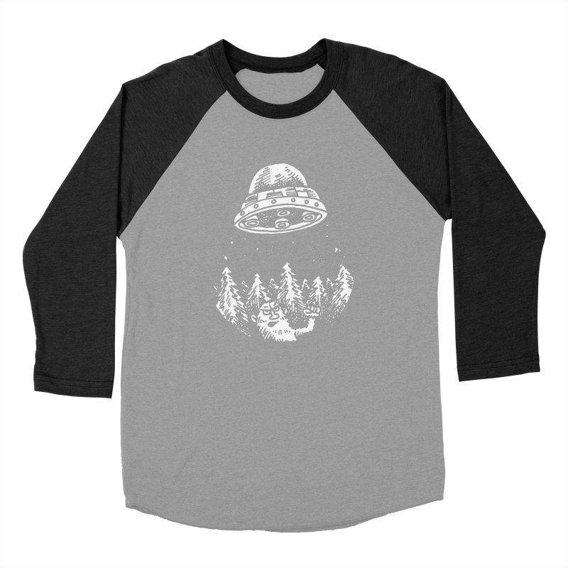 UFO buzzes Yeti in the forest Men's Baseball Triblend T-Shirt by Anthony Woodward's Artist Shop