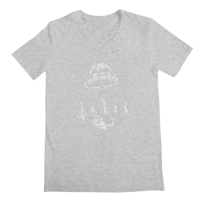 UFO buzzes Yeti in the forest Men's V-Neck by Anthony Woodward's Artist Shop