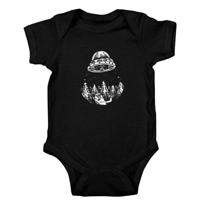 UFO buzzes Yeti in the forest Kids Baby Bodysuit by Anthony Woodward's Artist Shop