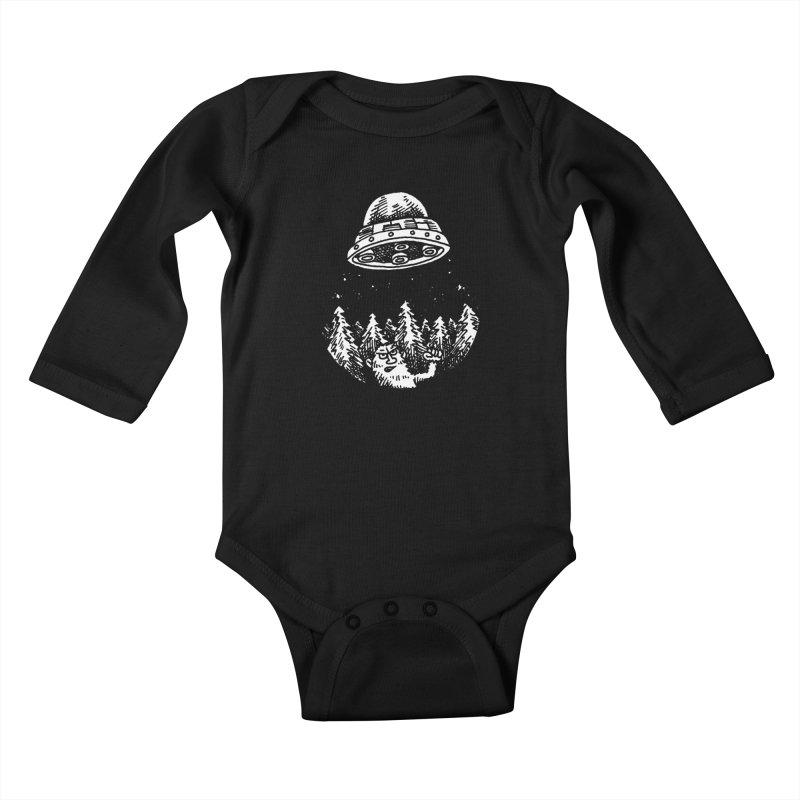 UFO buzzes Yeti in the forest Kids Baby Longsleeve Bodysuit by Anthony Woodward's Artist Shop