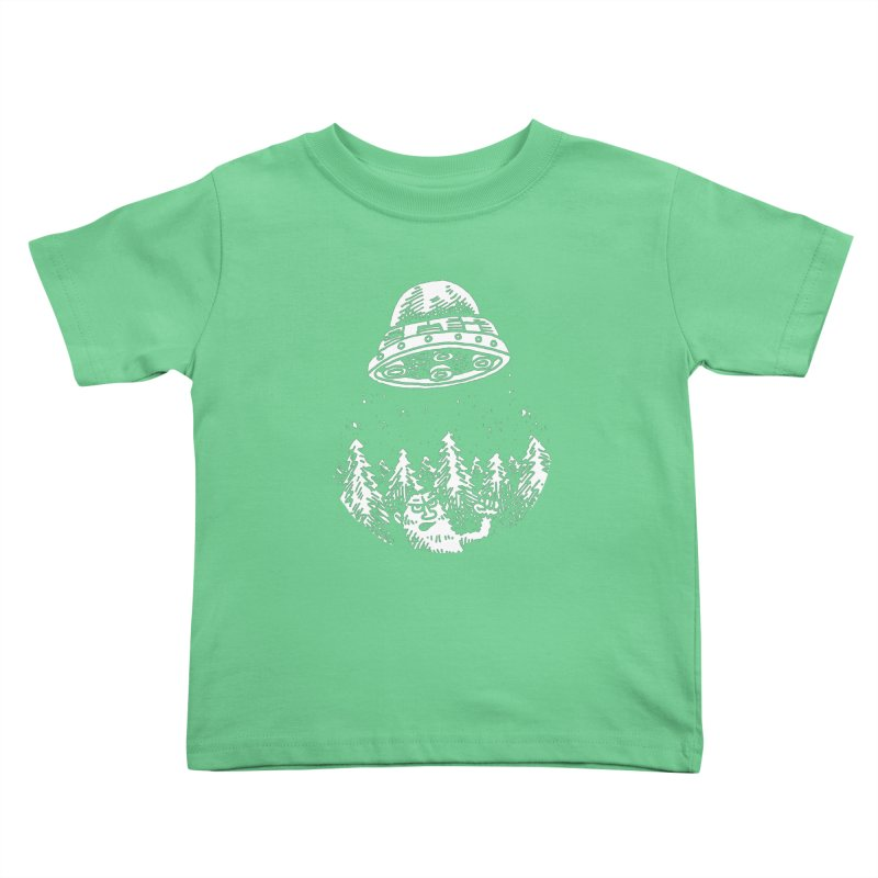 UFO buzzes Yeti in the forest Kids Toddler T-Shirt by Anthony Woodward's Artist Shop