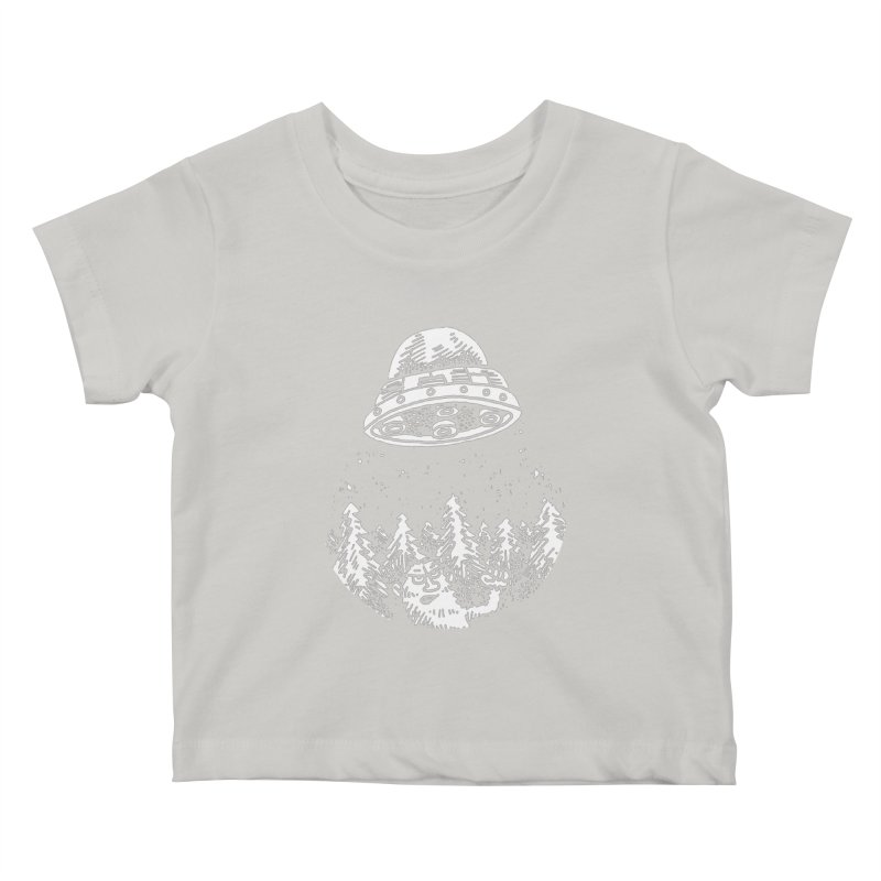 UFO buzzes Yeti in the forest Kids Baby T-Shirt by Anthony Woodward's Artist Shop