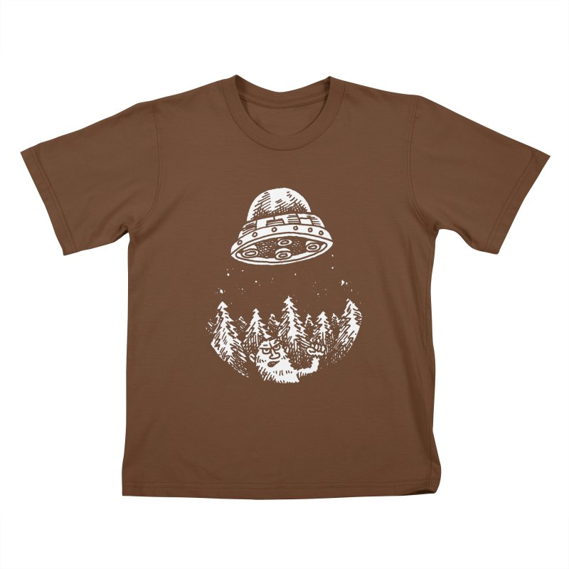 UFO buzzes Yeti in the forest Kids T-Shirt by Anthony Woodward's Artist Shop