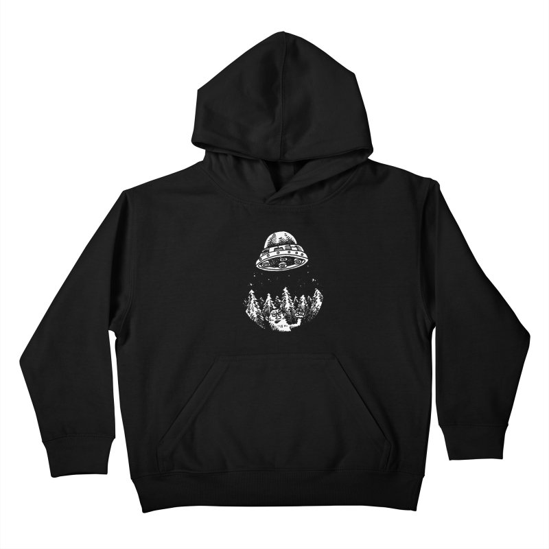 UFO buzzes Yeti in the forest Kids Pullover Hoody by Anthony Woodward's Artist Shop