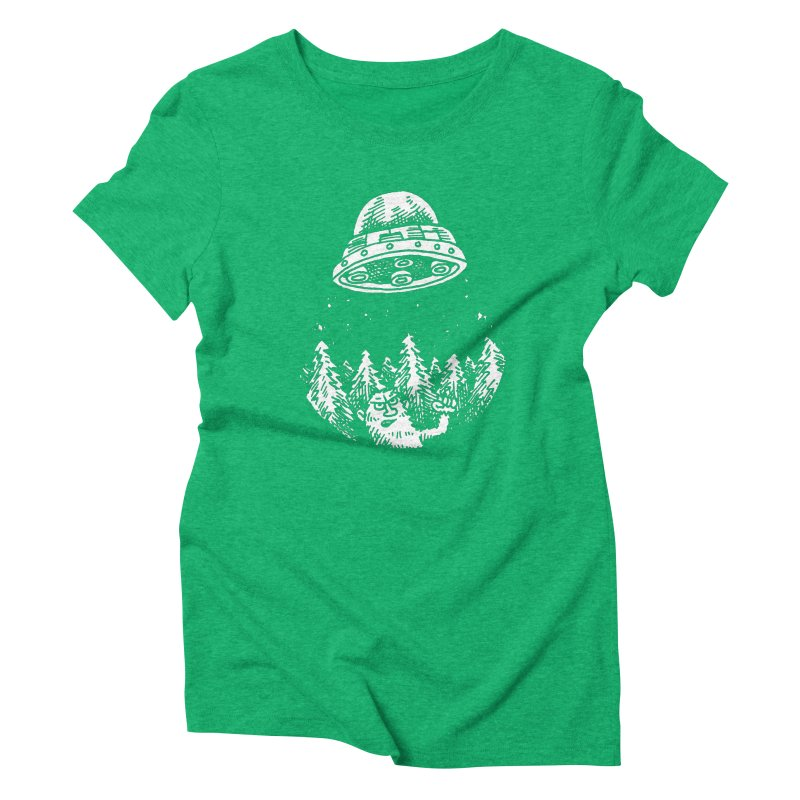 UFO buzzes Yeti in the forest Women's Triblend T-Shirt by Anthony Woodward's Artist Shop