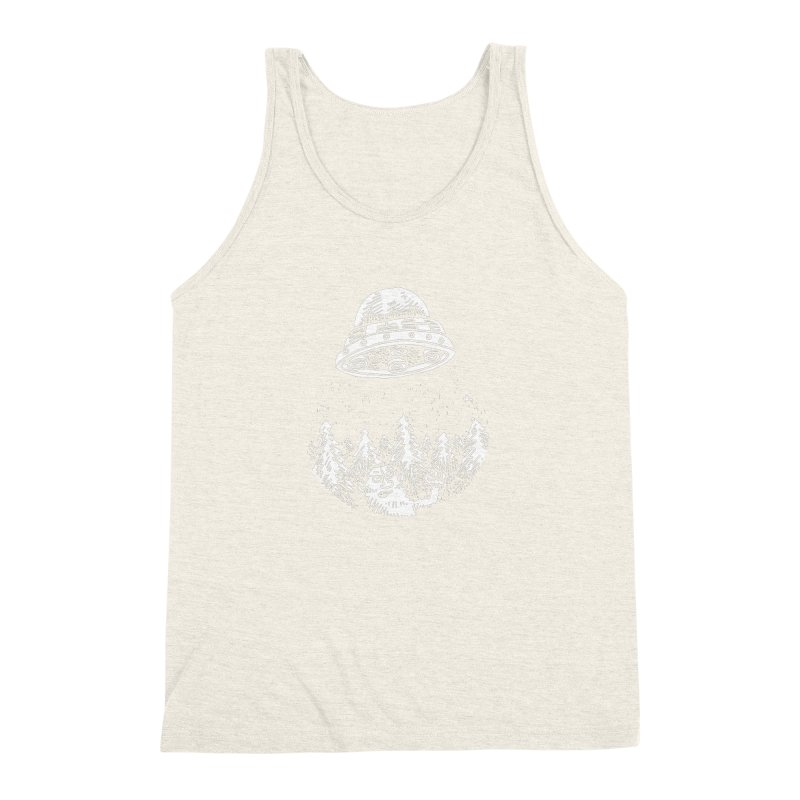 UFO buzzes Yeti in the forest Men's Triblend Tank by Anthony Woodward's Artist Shop