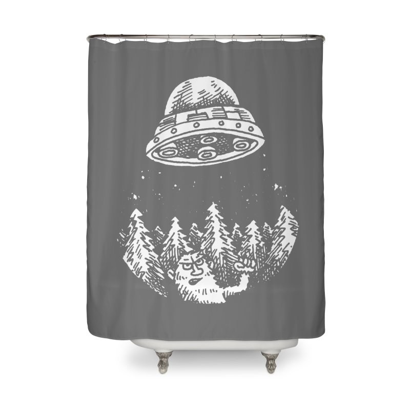 UFO buzzes Yeti in the forest Home Shower Curtain by Anthony Woodward's Artist Shop