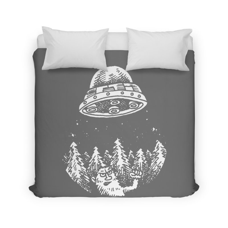 UFO buzzes Yeti in the forest Home Duvet by Anthony Woodward's Artist Shop