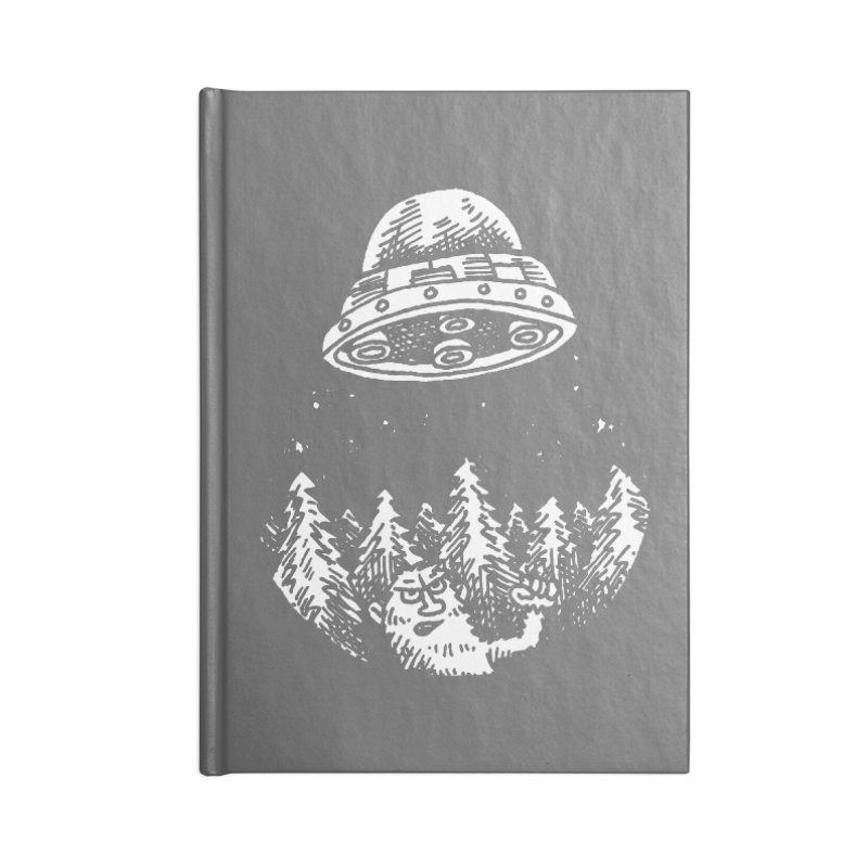 UFO buzzes Yeti in the forest Accessories Notebook by Anthony Woodward's Artist Shop