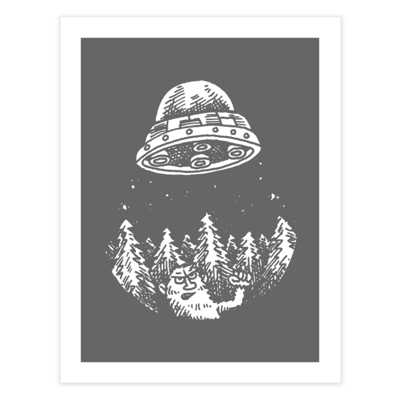 UFO buzzes Yeti in the forest Home Fine Art Print by Anthony Woodward's Artist Shop