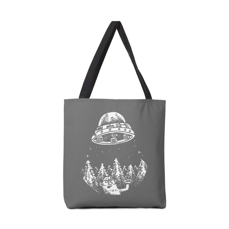 UFO buzzes Yeti in the forest Accessories Bag by Anthony Woodward's Artist Shop