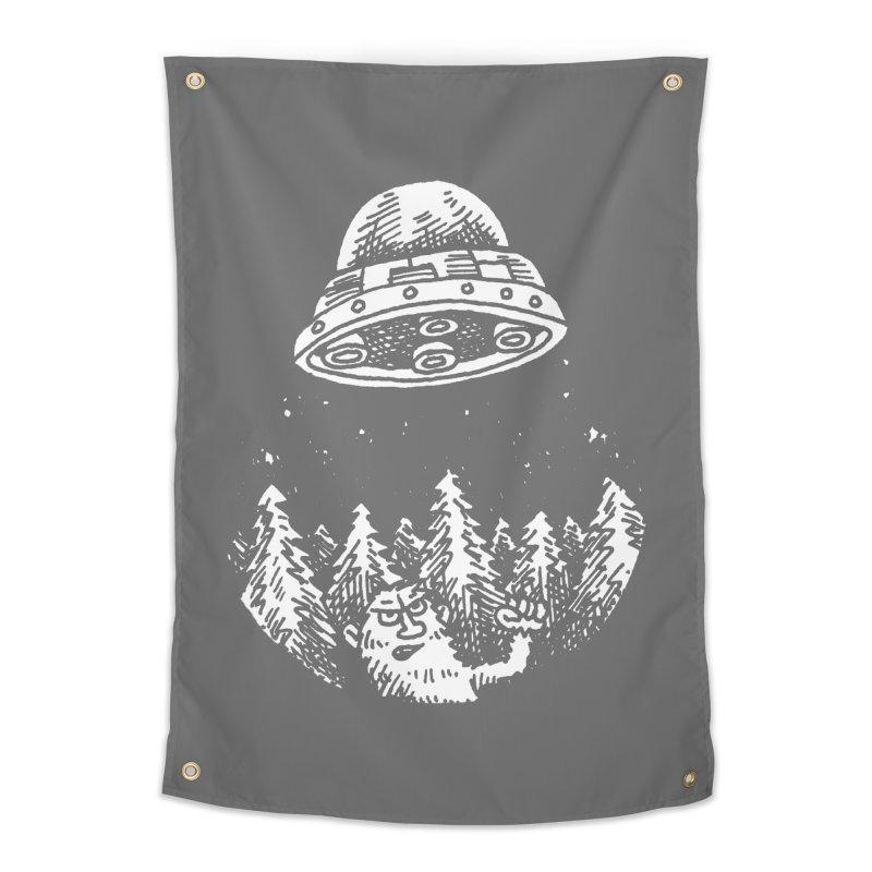UFO buzzes Yeti in the forest Home Tapestry by Anthony Woodward's Artist Shop