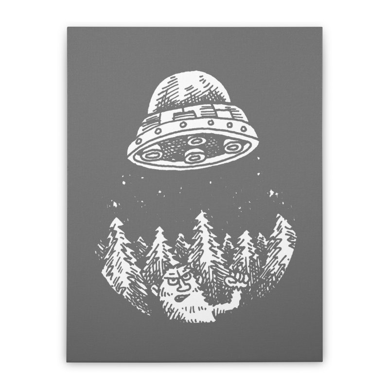 UFO buzzes Yeti in the forest Home Stretched Canvas by Anthony Woodward's Artist Shop