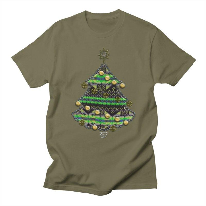 Appliqué Xmas Tree Men's T-shirt by AntonAbela-Art's Artist Shop