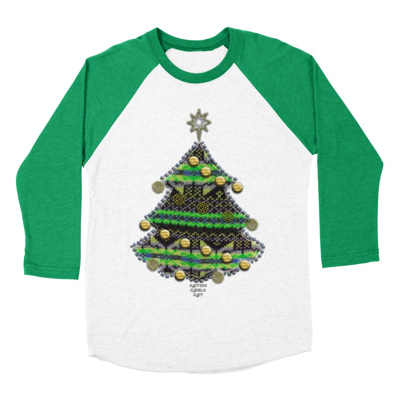 Appliqué Xmas Tree Women's Baseball Triblend T-Shirt by AntonAbela-Art's Artist Shop