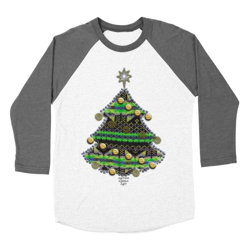 Appliqué Xmas Tree Men's Baseball Triblend T-Shirt by AntonAbela-Art's Artist Shop