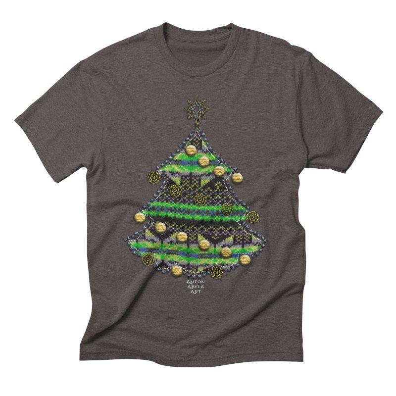 Appliqué Xmas Tree Men's Triblend T-shirt by AntonAbela-Art's Artist Shop