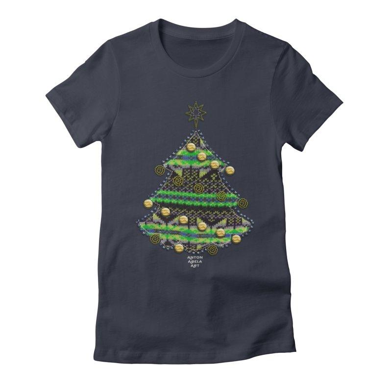 Appliqué Xmas Tree Women's Fitted T-Shirt by AntonAbela-Art's Artist Shop