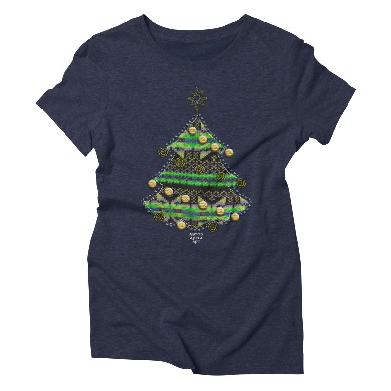 Appliqué Xmas Tree Women's Triblend T-shirt by AntonAbela-Art's Artist Shop