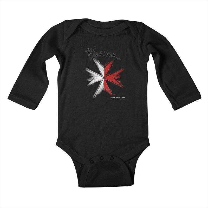 'Aw Sbeћja = Hey Beautiful (Maltese - female ref.) Kids Baby Longsleeve Bodysuit by AntonAbela-Art's Artist Shop