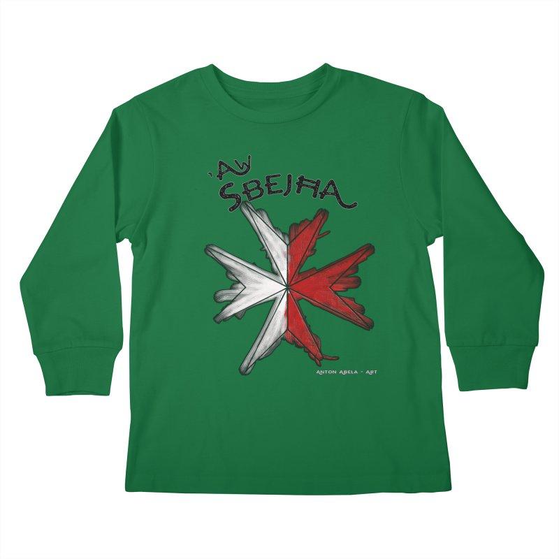 'Aw Sbeћja = Hey Beautiful (Maltese - female ref.) Kids Longsleeve T-Shirt by AntonAbela-Art's Artist Shop