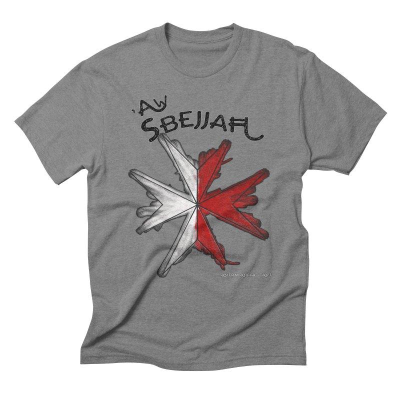 'Aw Sbejjaћ = Hey Beautiful (Maltese - male ref.) Men's Triblend T-shirt by AntonAbela-Art's Artist Shop
