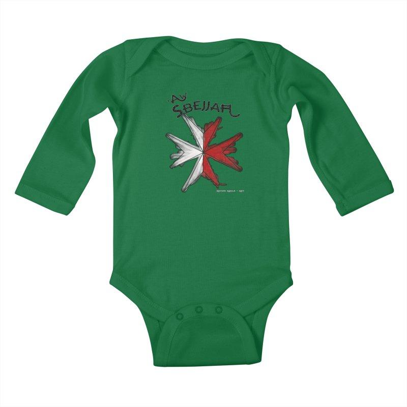'Aw Sbejjaћ = Hey Beautiful (Maltese - male ref.) Kids Baby Longsleeve Bodysuit by AntonAbela-Art's Artist Shop