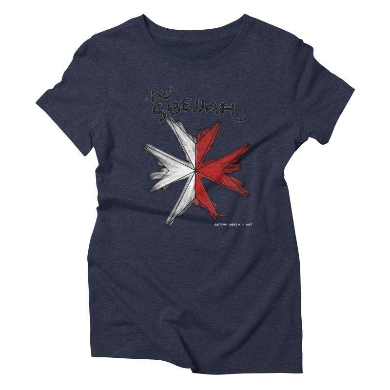 'Aw Sbejjaћ = Hey Beautiful (Maltese - male ref.) Women's Triblend T-shirt by AntonAbela-Art's Artist Shop