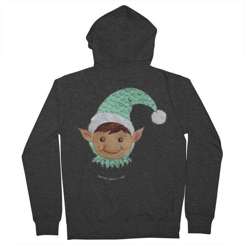 Christmas Elf Men's Zip-Up Hoody by AntonAbela-Art's Artist Shop