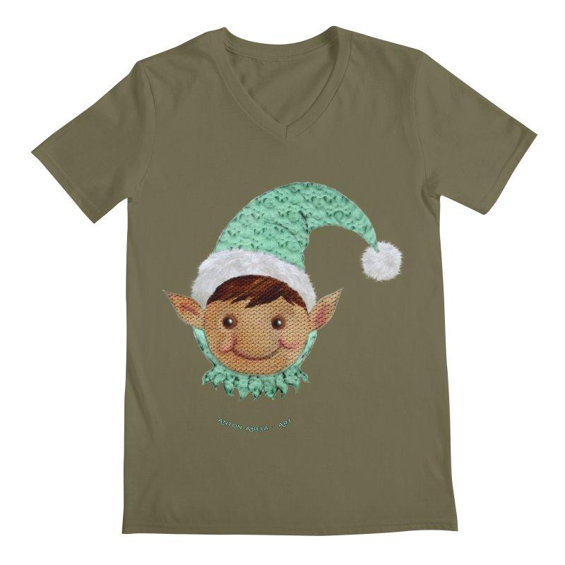 Christmas Elf Men's V-Neck by AntonAbela-Art's Artist Shop