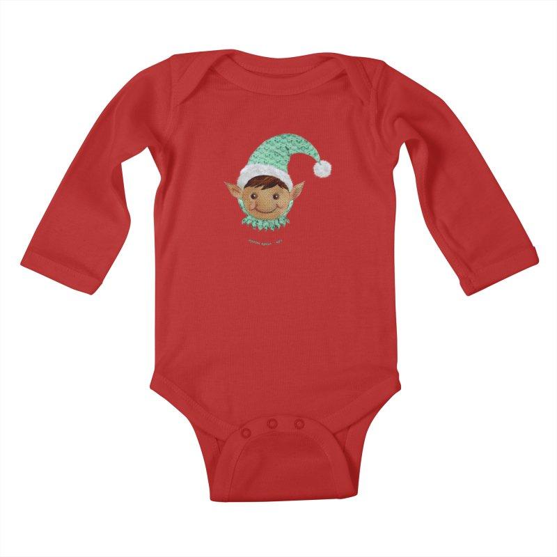 Christmas Elf Kids Baby Longsleeve Bodysuit by AntonAbela-Art's Artist Shop