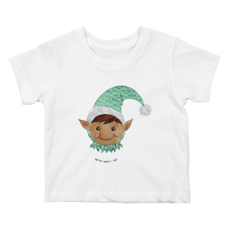 Christmas Elf Kids Baby T-Shirt by AntonAbela-Art's Artist Shop