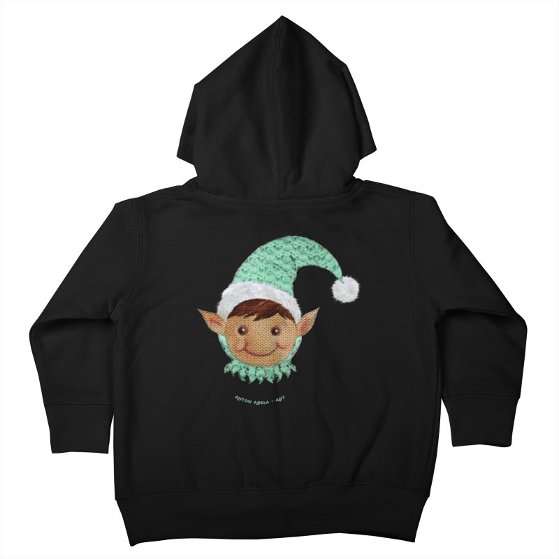 Christmas Elf Kids Toddler Zip-Up Hoody by AntonAbela-Art's Artist Shop