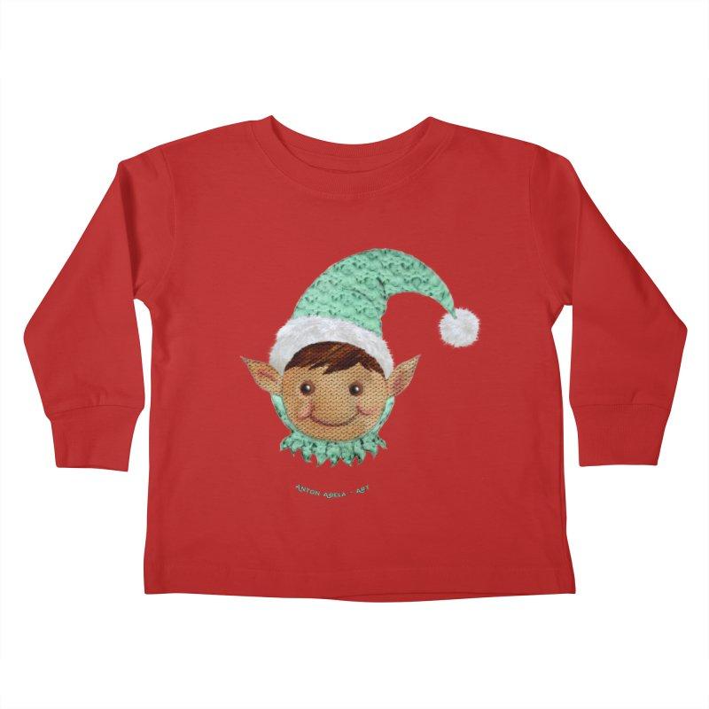 Christmas Elf Kids Toddler Longsleeve T-Shirt by AntonAbela-Art's Artist Shop