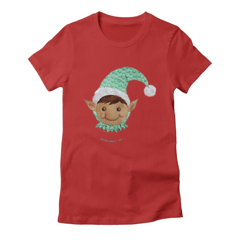 Christmas Elf Women's Fitted T-Shirt by AntonAbela-Art's Artist Shop