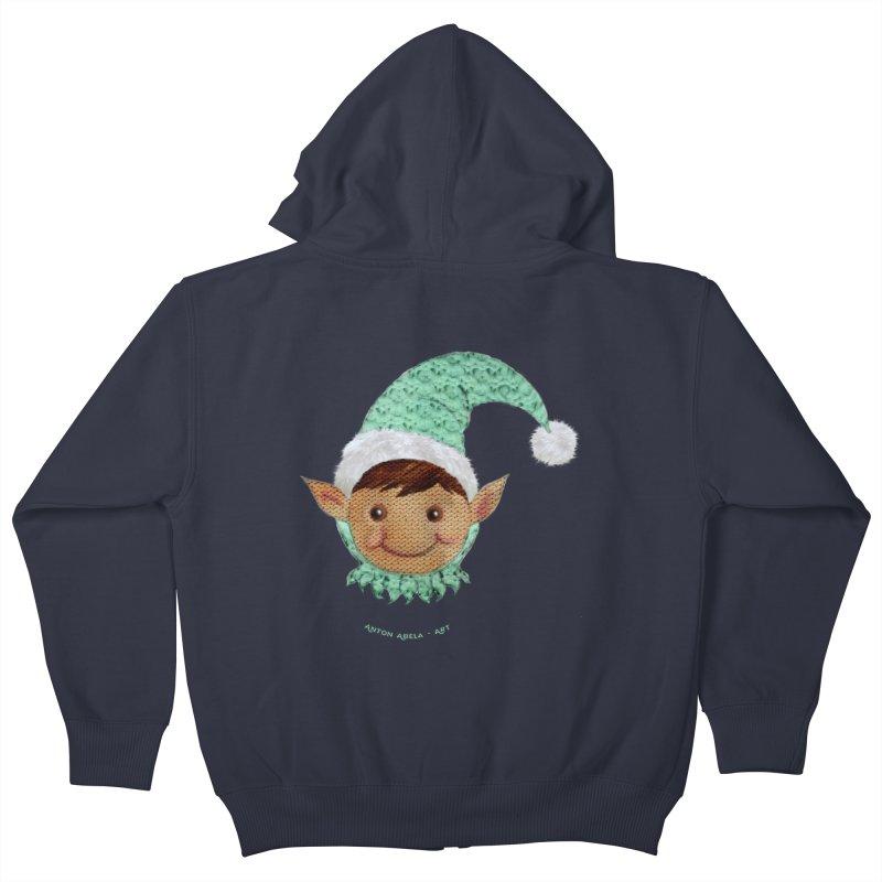 Christmas Elf Kids Zip-Up Hoody by AntonAbela-Art's Artist Shop