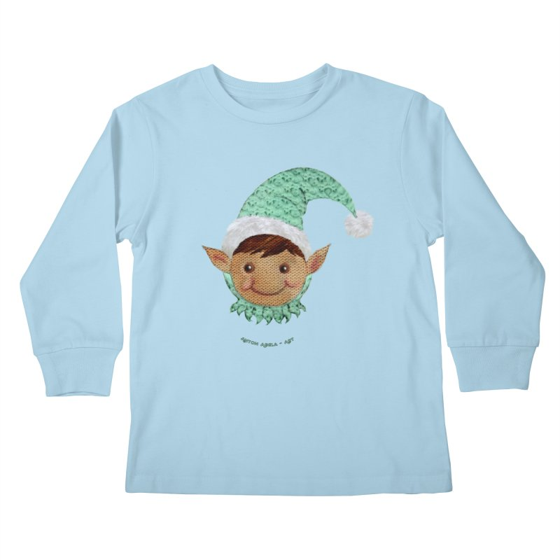 Christmas Elf Kids Longsleeve T-Shirt by AntonAbela-Art's Artist Shop
