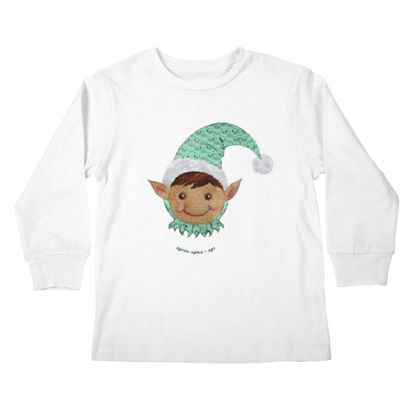 Christmas Elf Kids Longsleeve T-Shirt by AntonAbela-Art's Artist Shop